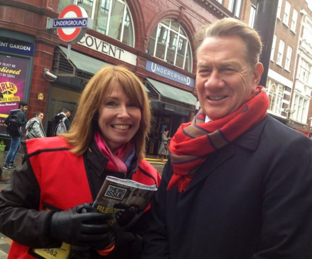 <br>Kay Burley sells a Big Issue to Michael Portillo