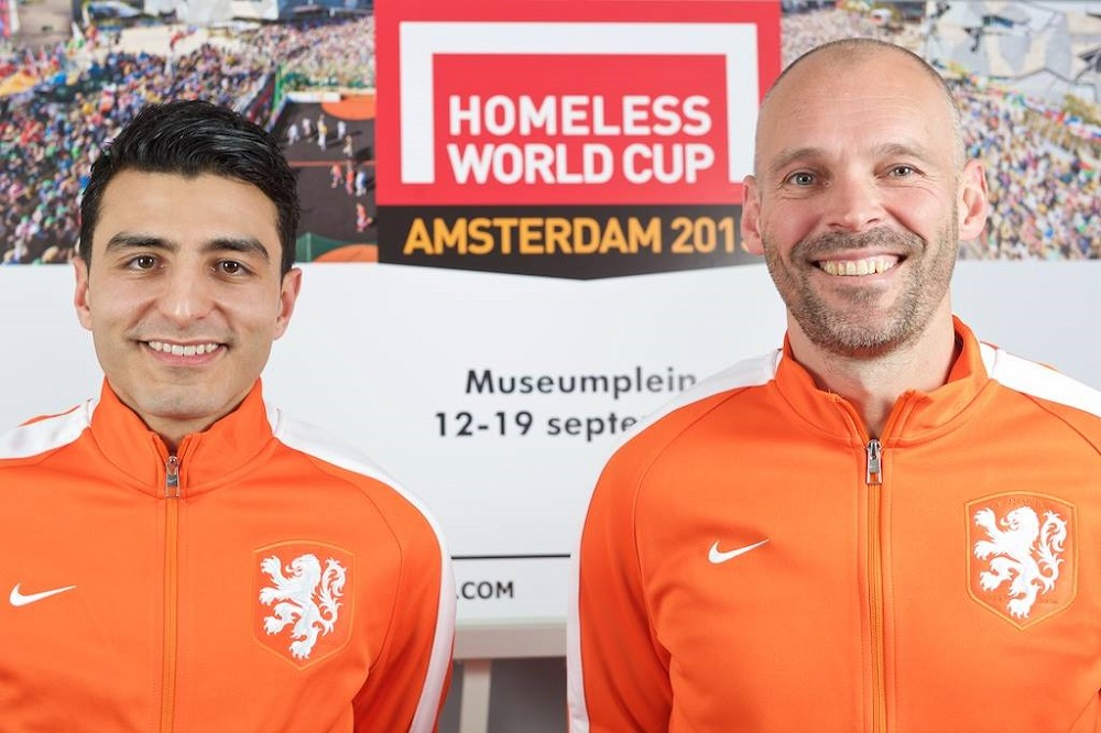 Dutch Homeless World Cup men's coach Soufiane Touzani (L) and women's team coach René van Rijswijk (R).