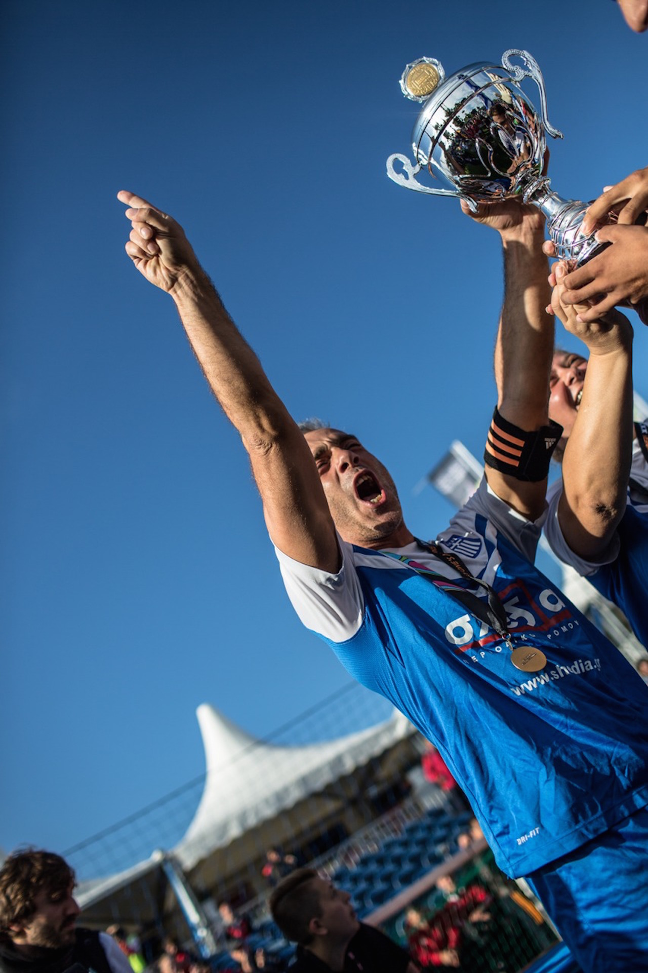 Greek captain Nikolaos celebrates at the Homeless World Cup. Photo: Alex Walker