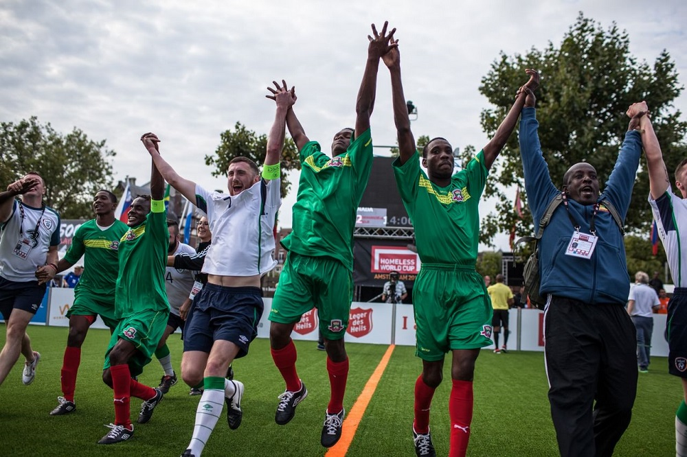 Grenada celebrates after their game with Ireland Photo: Alex Walker