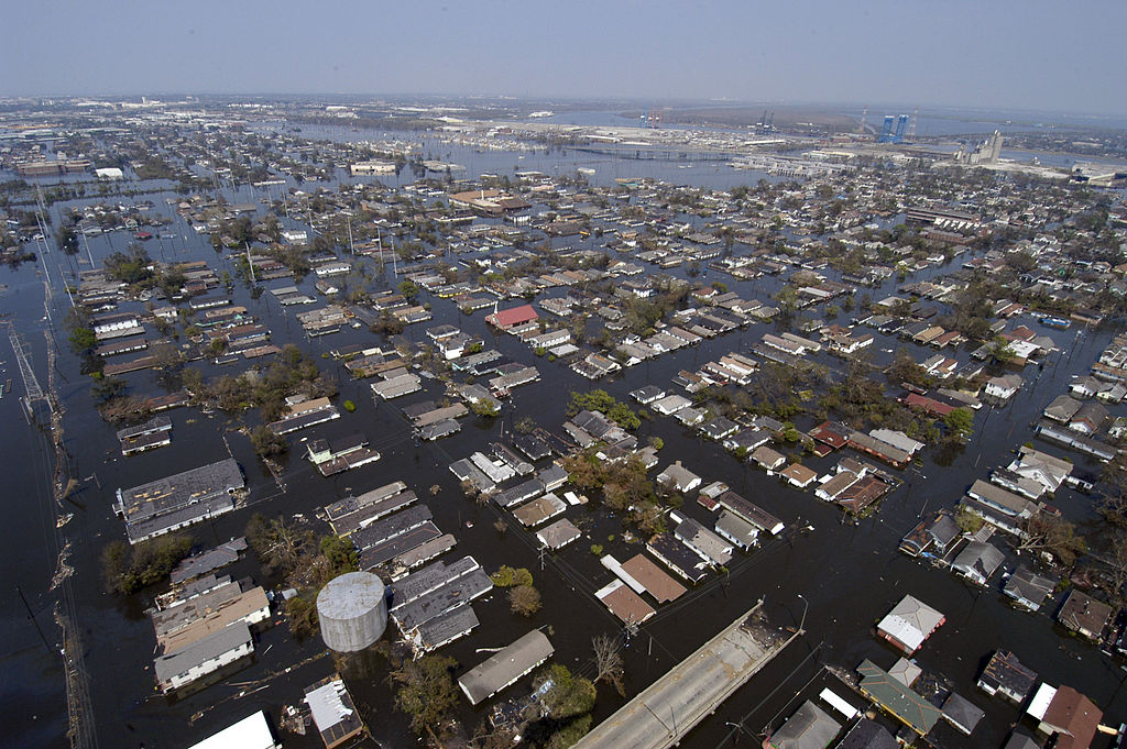 Four days after Hurricane Katrina made landfall on the Gulf Coast, many parts of New Orleans remained flooded. Navy photo by Gary Nichols
