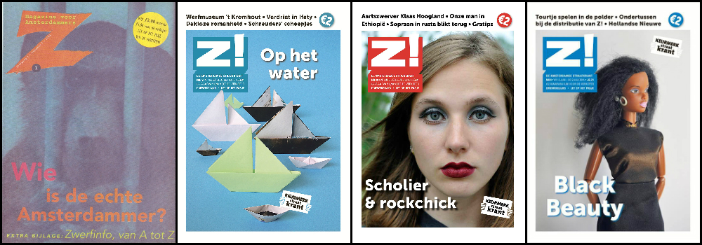 Z!'s first edition (far left) and several recent covers