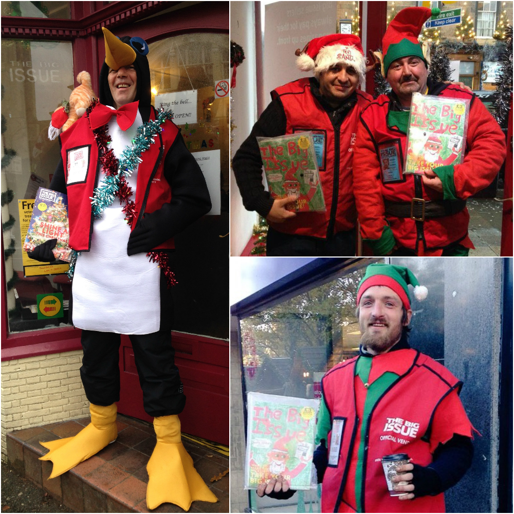 Big Issue vendors selling at Christmas
