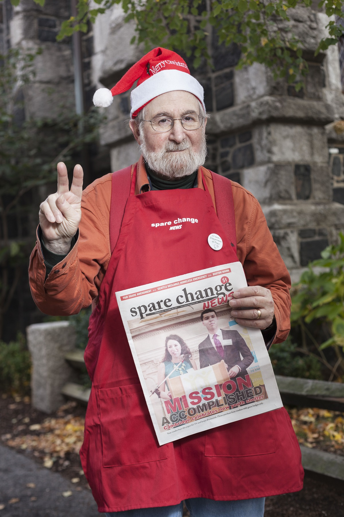 Spare Change News vendor Marc getting into the holiday spirit. Credit: Alena Kuzub