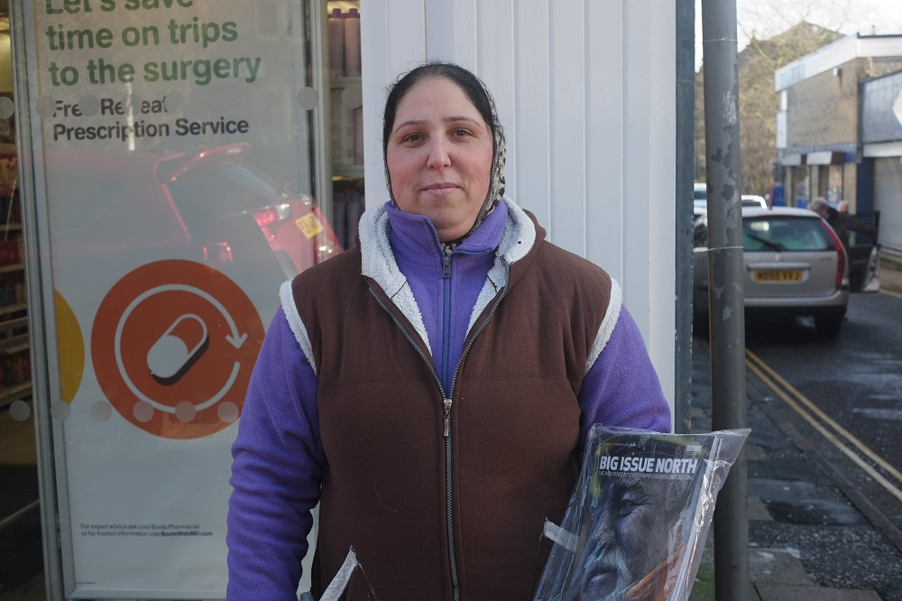Nadia sells Big Issue North in Todmorden near Manchester