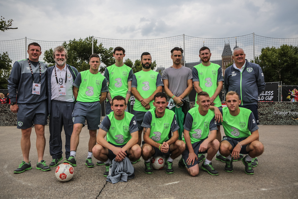 Sean Kavanagh (second top left) poses with the Irish Street League and their high profile supporter Colin Farrell at The Homeless World Cup in Amsterdam, 2015. PHOTO: Alex Walker