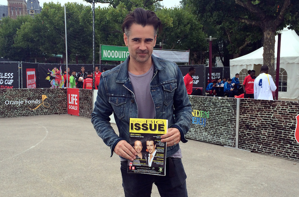 Hollywood actor, and street apper fan, Colin Farrell poses with a his cover issue of Ireland's Big Issue in Amsterdam 2015. PHOTO: Laura Smith