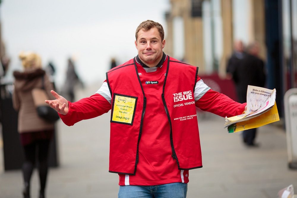 Rugby star Allan Dell realises how hard it is to sell The Big Issue in Edinburgh PHOTO: Euan Ramsay