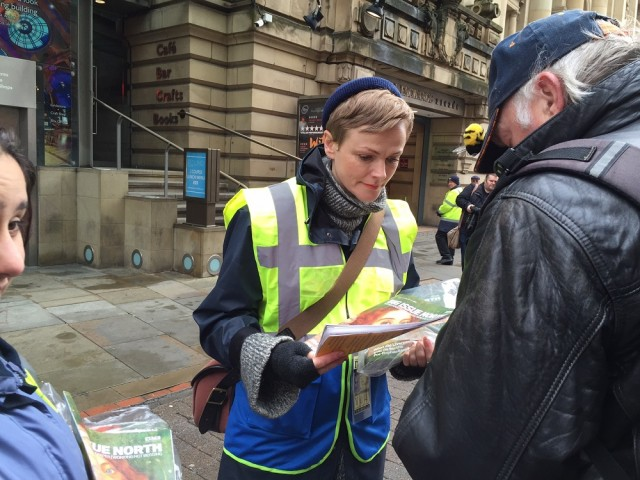 Maxine Peake sells Big Issue North in Manchester. Photo: Big Issue North<br>