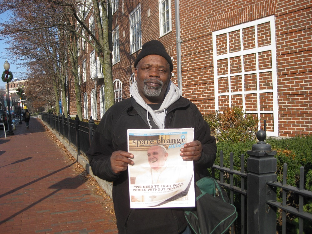 Gary Brown sells Spare Change News in Boston, photo by Alena Kuzub