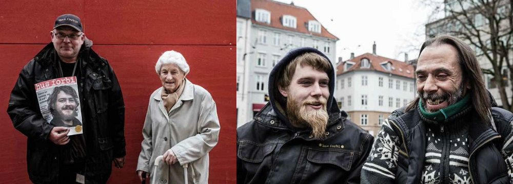 Hus Forbi vendor and customer, 91. Credit Claus Sjödin. (L) Hus Forbi vendors swap tales of sleeping rough. Credit Mette Kramer Kristensen (R)