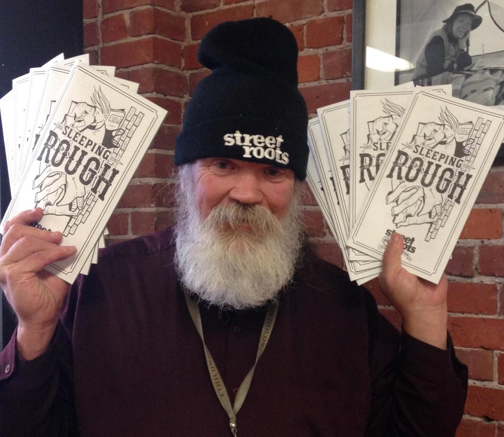 Street Roots vendor Doug Wallace, ready to sell the zine