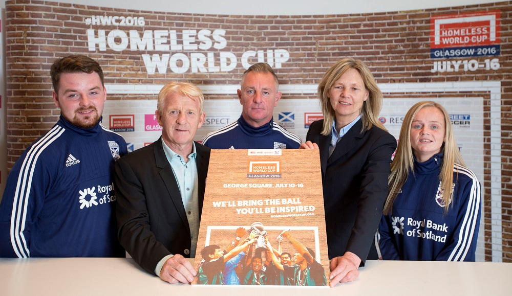 Managers of Scotland's national sides, Gordon Strachan and Anna Signeul, announce groups alongside two former Team Scotland Homeless World Cup players and coach Robert O'Hare. Photo: Homeless World Cup
