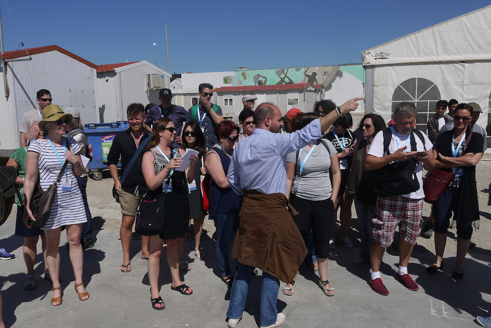 Delegates at Eleonas Refugee Camp. Photo by Alison Gilchrist