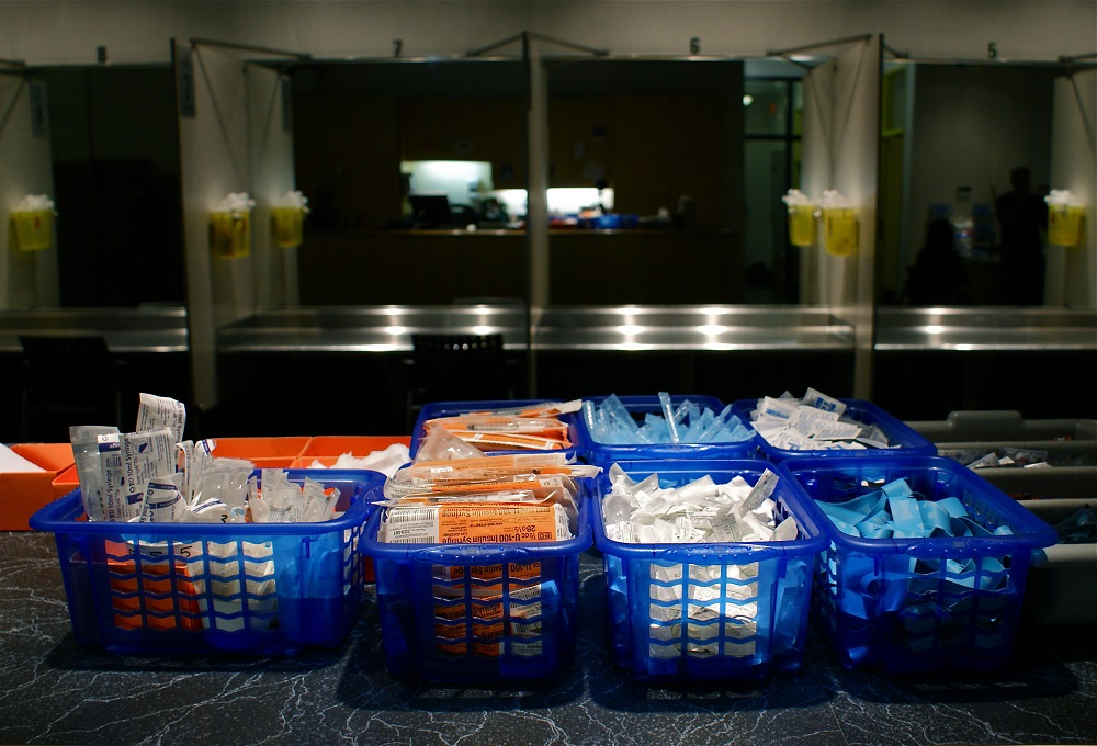 Drug users at Insite, a safe-injection site in Vancouver, are given clean needles at Insite so they can inject safely. Photo: Jay Black