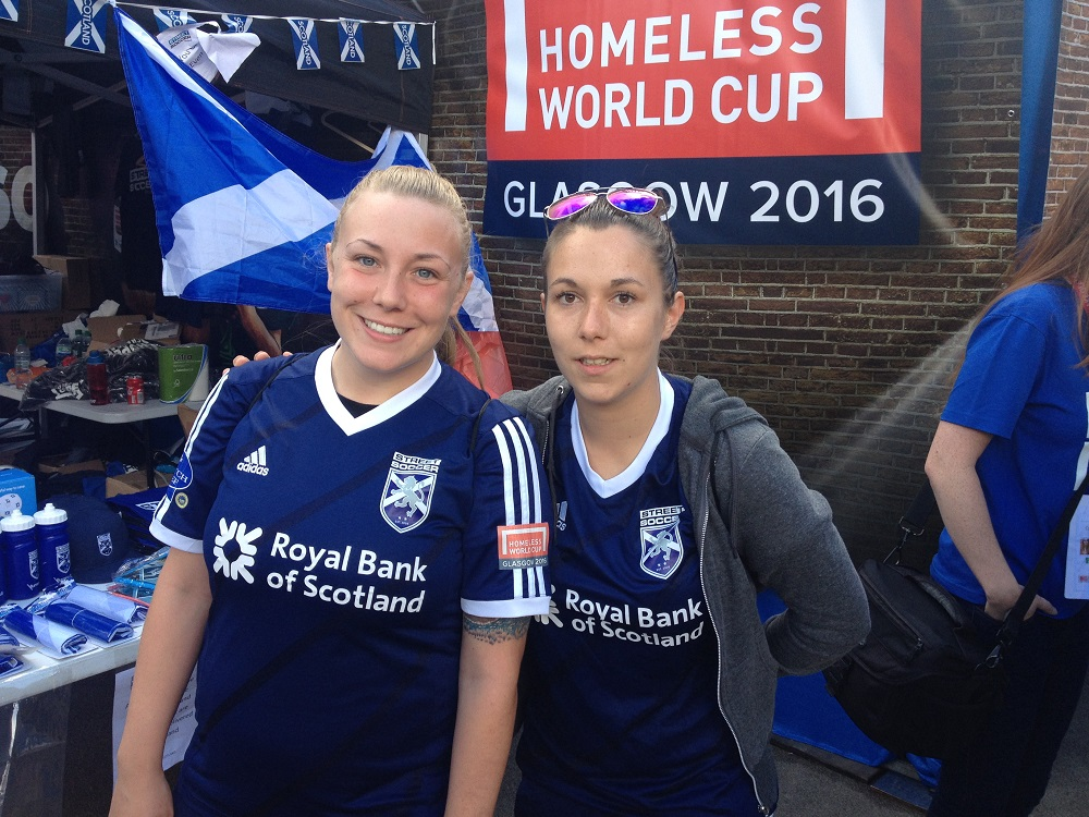 Scotland star Stephanie Tweed (R) with teammate Paige Riggans. Photo: Alison Gilchrist