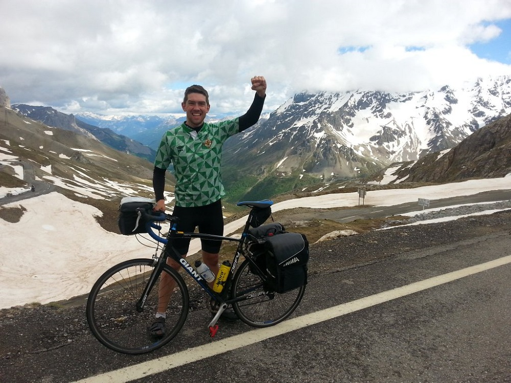 Stephen cycling through the French Alps