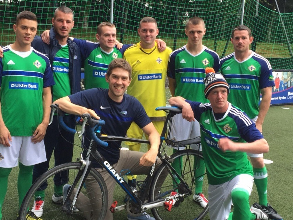 Stephen with the NI team at their final training session