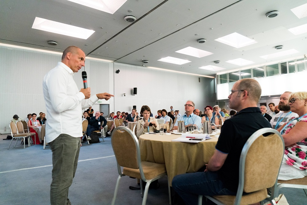 Varoufakis addresses INSP's Global Street Paper Summit. Photo: Dimitri Koutsomytis