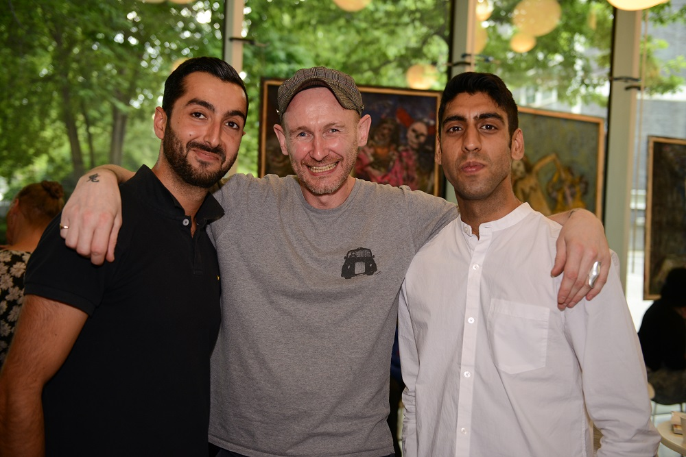 Dave Tovey with Arash Khoshnazar (left) and Neil Raja, two of the founders of Clothing The Homeless, a London-based initiative that feature heavily at the festival