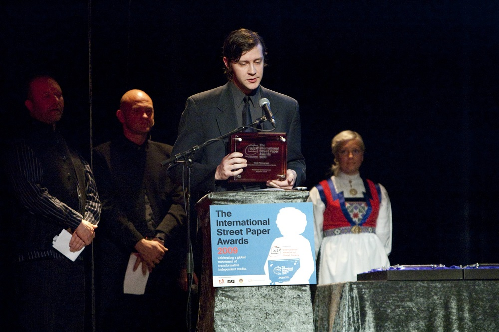 Sean accepts the award for Best Photo at the INSP Awards 2009
