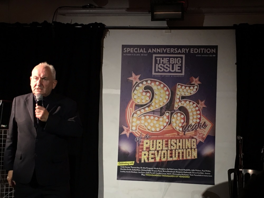 John Bird addresses The Big Issue 25th birthday party. Photo: Laura Kelly