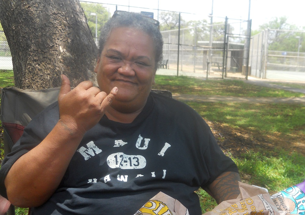 Twinkle Borge, matriarch and mediator within the Puuhonua O Waianae homeless camp. Credit: Alexander Deedy