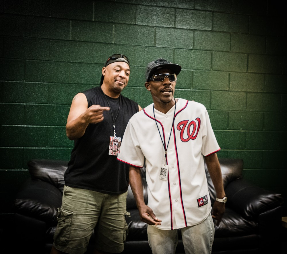 Chuck D of Prophets of Rage (left) with street vendor and rapper Ronald Dudley Credit: Rodney Choice