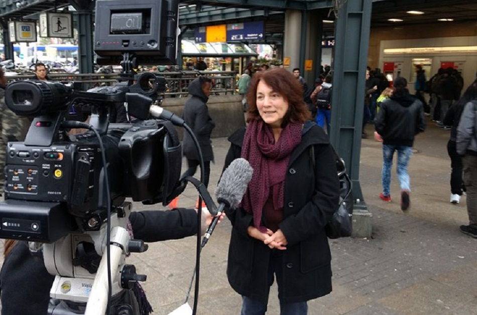 Birgit Müller speaking to Hamburg's news channel in response to the city's District Director Faiko Droßmann's comments. Photo: Benjamin Laufer