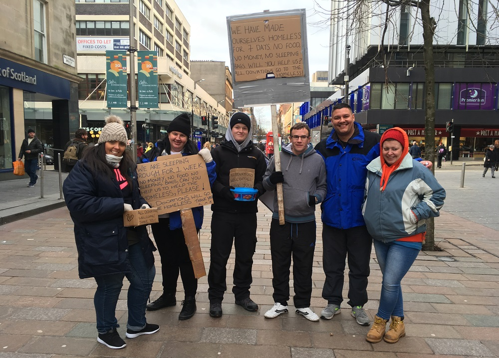 Michael Sturrock (second from the right) and the team of Teen Challenge volunteers on day one of their sleep out challenge. Photo: Laura Kelly