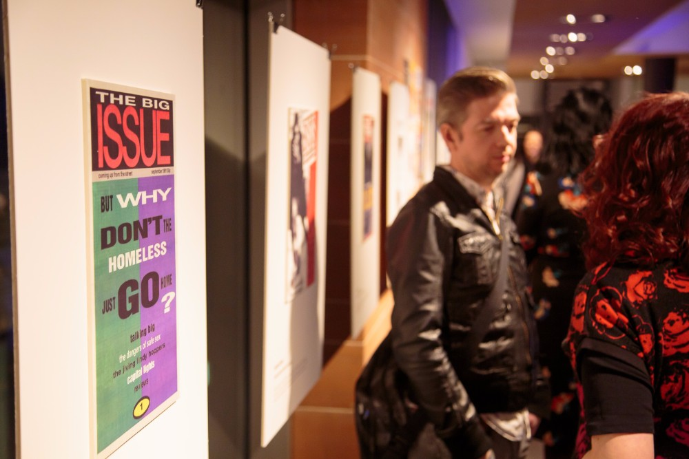 The exhibition opens with an image of The Big Issue UK's first issue front cover from September 1991.