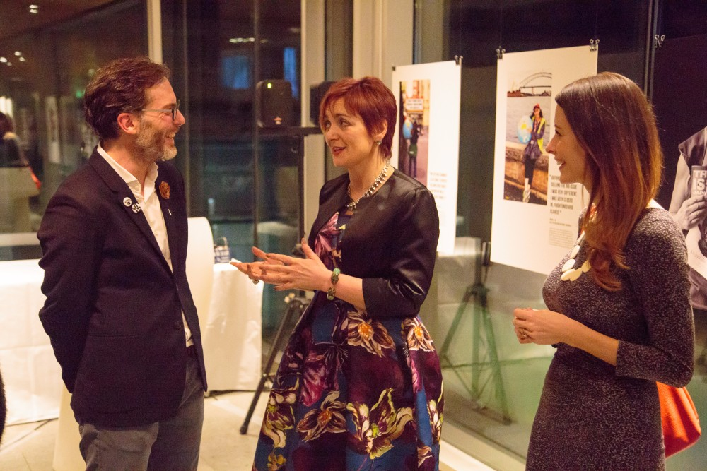 The founder of 'ideas agency' Equator, James Jefferson, shares a joke with Angela Constance (centre), the Scottish Government Cabinet Secretary for Communities, Social Security and Equalities, and INSP's Chief Executive, Maree Aldam.