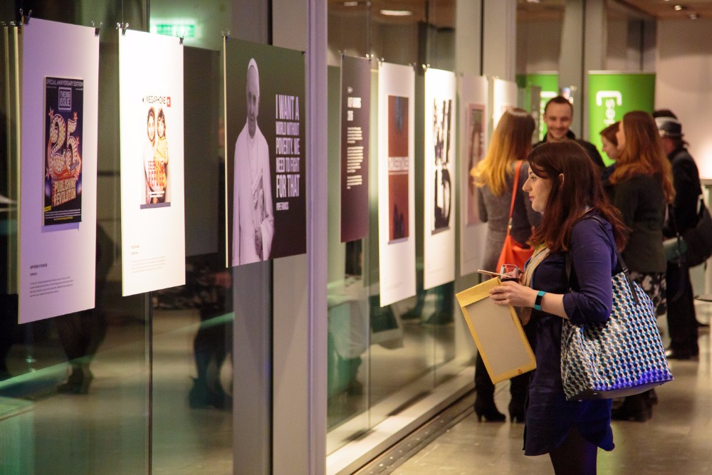 Attendees at the INSP exhibition launch of UNCOVERED: still homeless, still an issue at the Lighthouse in Glasgow