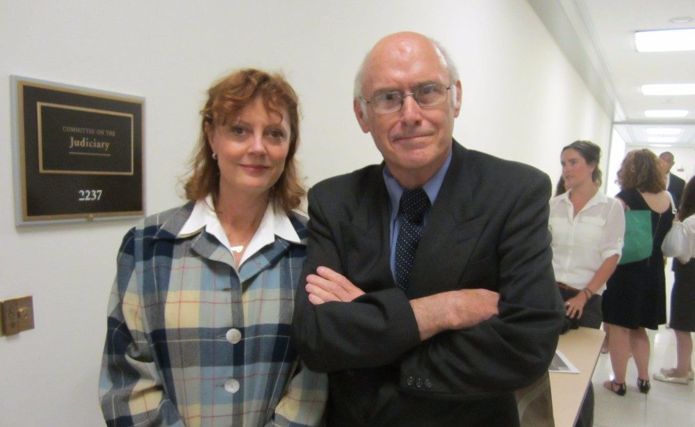 Michael Stoops with Susan Sarandon, during her 2014 visit to Congress. Photo by Rachel Cain