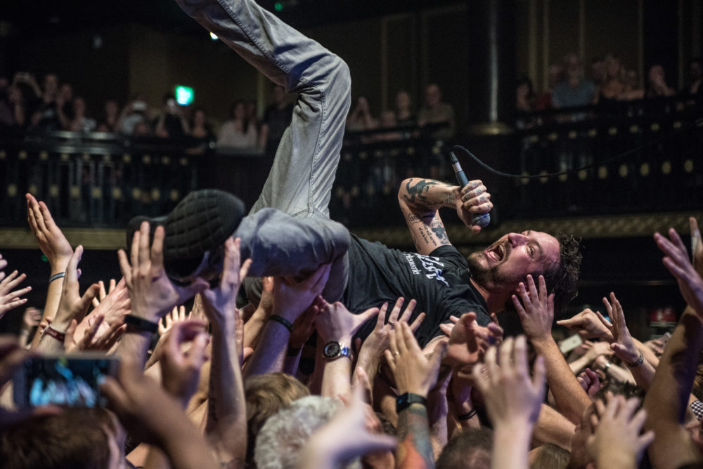 Frank Turner surfs the crowd during his headline slot at Street Noise. Credit: Wendy Keogh.