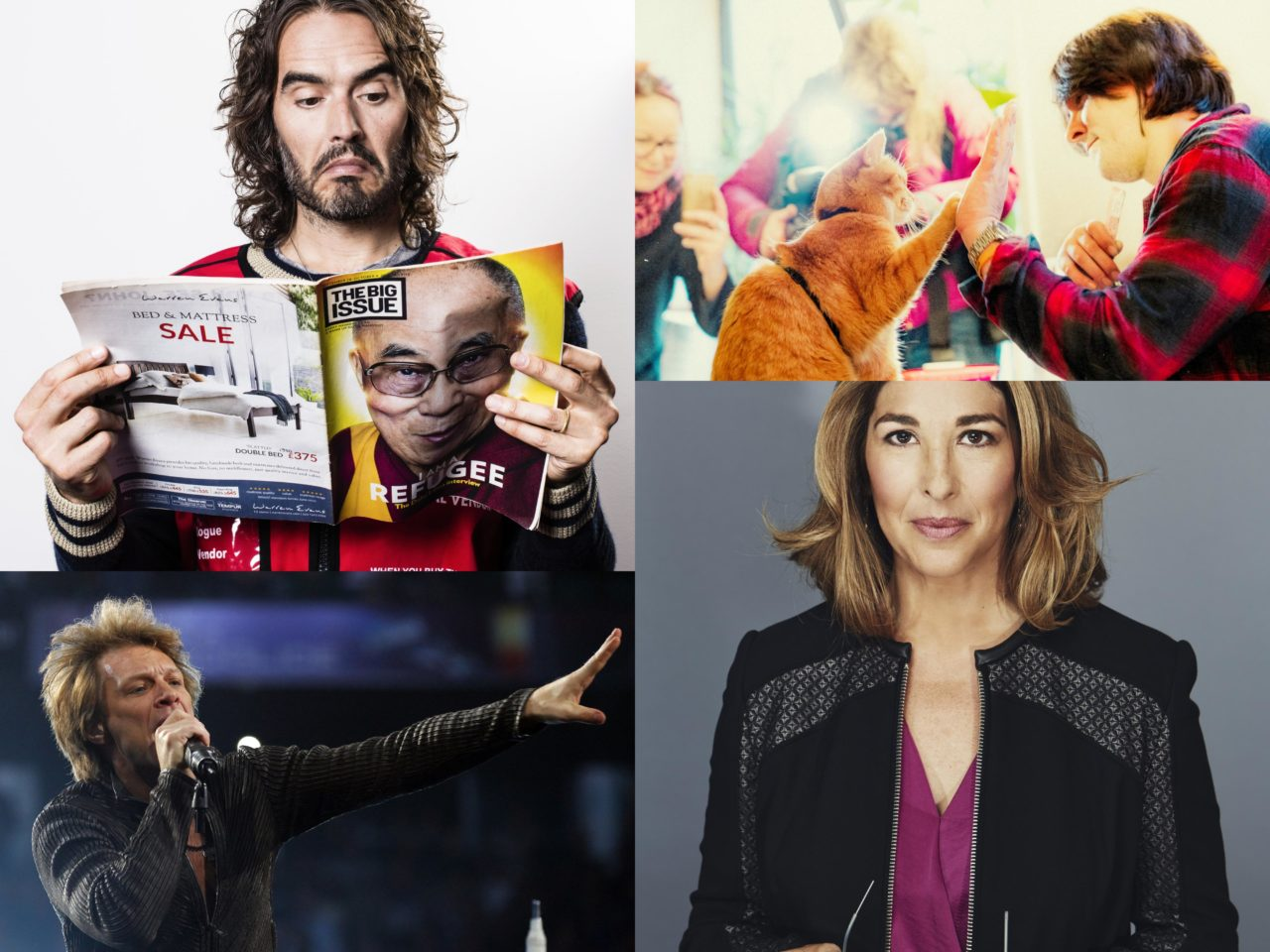 Top Left: Russell Brand (Credit: Louise Haywood-Schiefer); Top Right: Streetcat Bob (Credit: Dimitri Koutsomytis); Bottom left: Jon Bon Jovii (Credit: REUTERS/Brian Snyder); Bottom Right: Naomi Klein (Credit: Kourosh Keshiri)