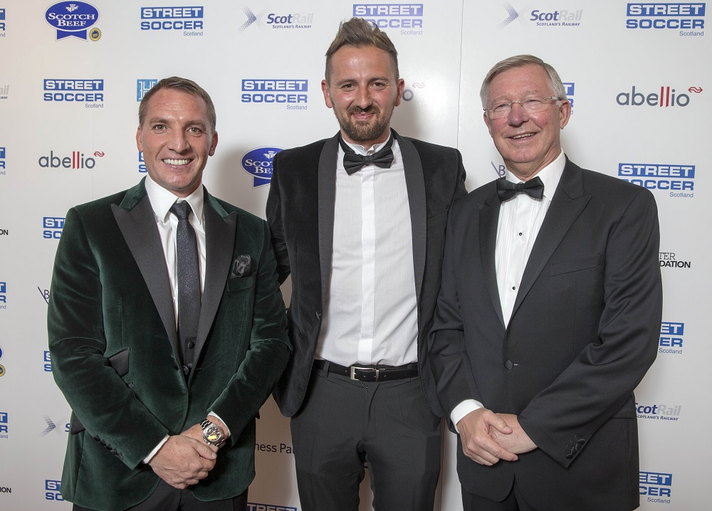 David Duke (centre), with Celtic FC manager Brendan Rodgers (left) and former Manchester United manager Sir Alex Ferguson (right)