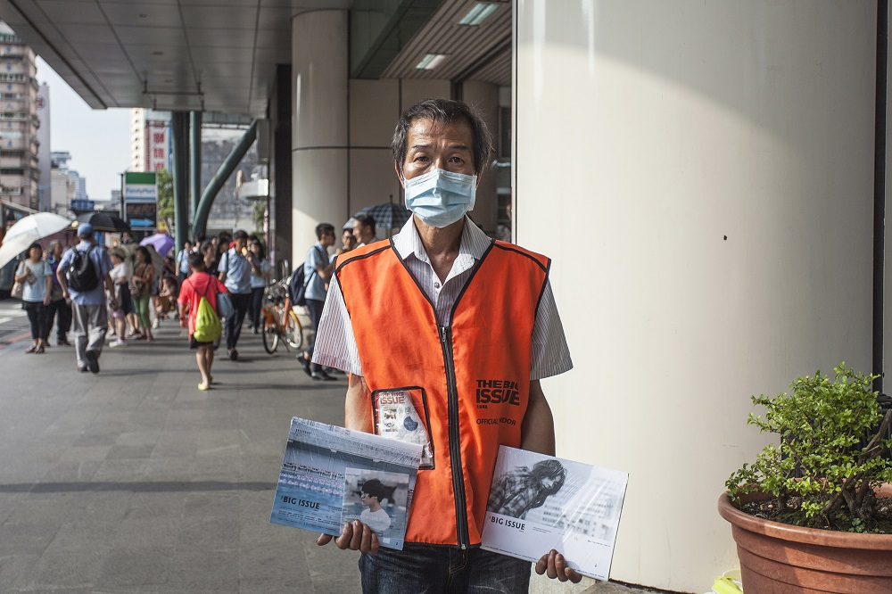 Lung-yen Huang, magazine seller at Qizhang station Photo Credit: Yu-ruei Lu / The Big Issue Taiwan