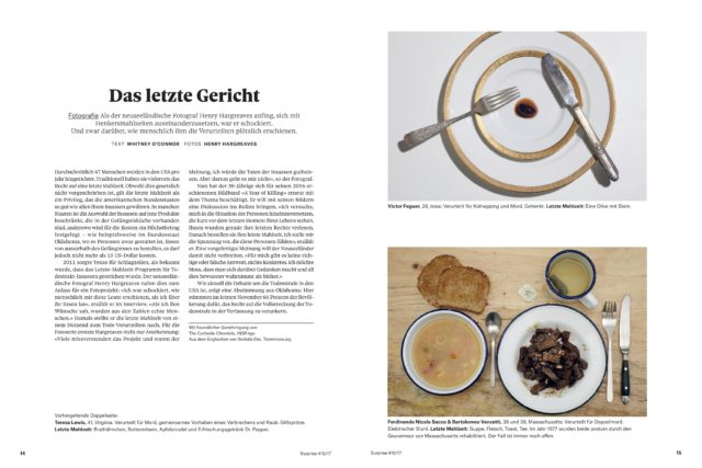 <br>The Curbside Chronicle (USA)'s feature on death row inmates' last meals in Surprise (Switzerland)