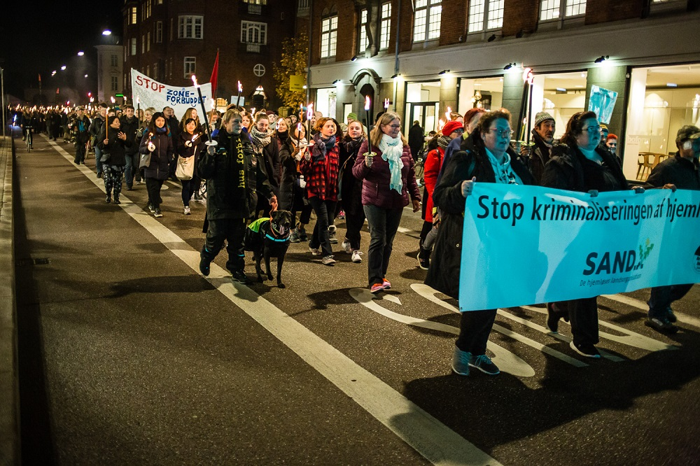 People in Copenhagen take part in a public demonstration in support of homeless people in Denmark. Credit: Mette Kramer Kristensen