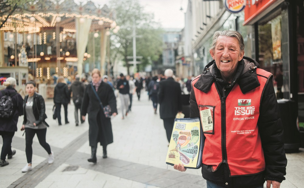 Big Issue vendor Maurice Richards in Cardiff, Wales. [Courtesy of The Big Issue (UK)]