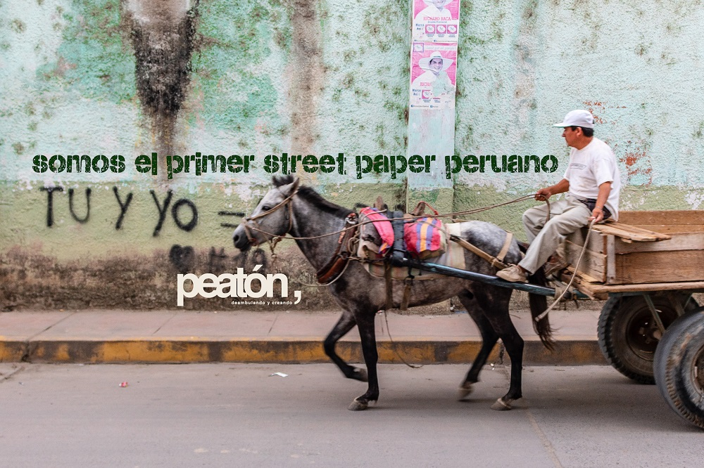 "Social media banners advertising Peatón: ""We are the first Peruvian street paper"". [Courtesy of Jorge Ledesma / Peatón]"