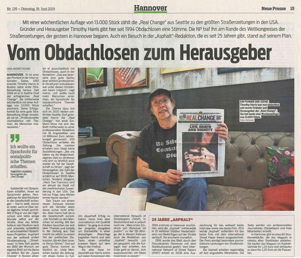 Harris was interviewed for a story in local newspaper in Hannover, Germany during the 2019 Global Street Paper Summit
