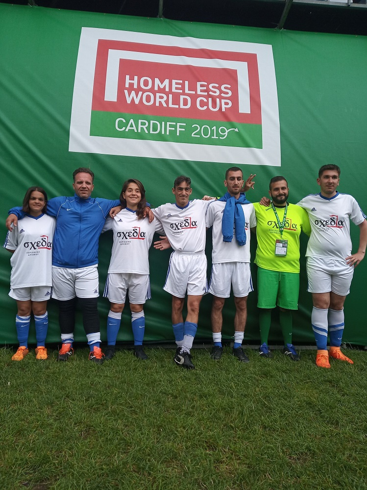 Angela (third from left) with the Greek Homeless World Cup team, made up of players from the adjacent street soccer project of the country's street paper Shedia. [Courtesy of Shedia]