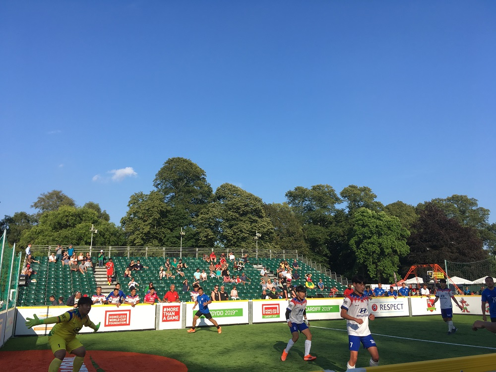 The Korean Homeless World Cup team in action v Hong Kong.