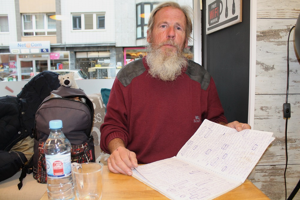 Lothar with part of his handwritten travel diary. Some words have been highlighted in boxes and later made reference to. Photo: Sabrina Burbach