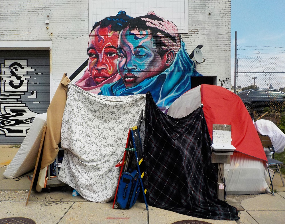 A makeshift tent in the NoMa neighborhood of Washington, D.C., at 3rd and M Street NE. [Credit: Joseph Young]