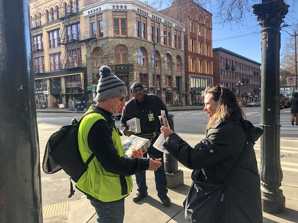 Pearl Jam's Stone Gossard during #VendorWeek 2019. He will participate in Real Change's selling event this year too. [Photo credit: Erin Buell]