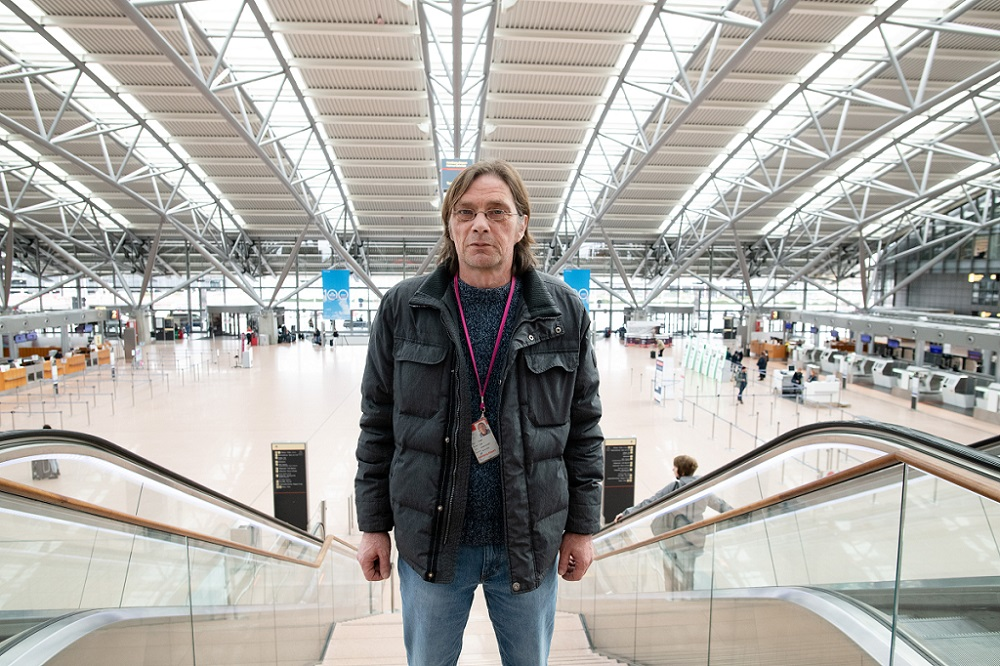 The spookily empty Hamburg Airport on Uwe's last day of work for the time being. [Credit: Mauricio Bustamante]