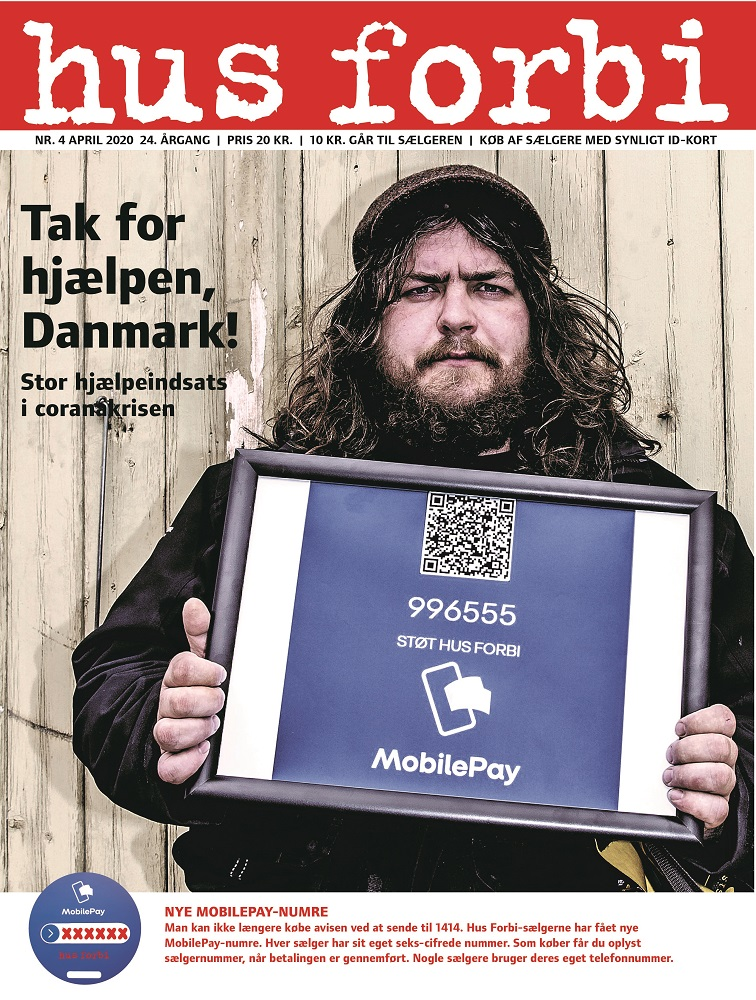 Chairperson of the Hus Forbi organisation, Simon Nielsen, on the cover of the April edition in which 12 pages were removed last minute to make place for coverage of the corona situation.